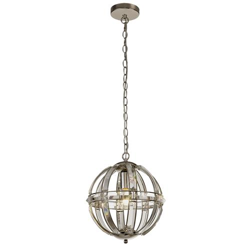 Xiomar Small Globe Nickel and Glass Crystal Pendant CHA8137