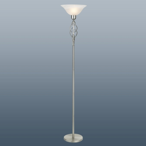 Classic Torchier Satin Chrome Floor Lamp