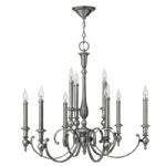 9 Light Nickel Multi-Arm Pendant HK/YORKTOWN9