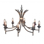 Bronze Patina Bamboo 8 Arm Ceiling Light BB8 BRZ Patina