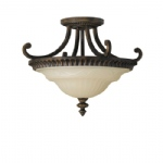 Walnut Finish Semi Flush Light FE/DRAWINGRM/SFA