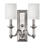 HK/SUSSEX2 Sussex Brushed Nickel Double Wall Light