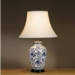 Blue Flower Design Table Lamp LUI/BLUE G JAR + LS1010