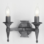 Saxon Double Wall Light SAX2 BLK/SIL