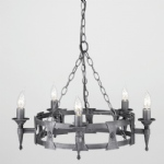 SAX5 BLK/SIL Saxon 5 Arm Ceiling Light