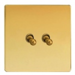 Toggle Switch Polished Brass XDVT2S