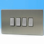 4-Gang 10A 1 or 2 way Rocker Switch Brushed Steel XDS9S