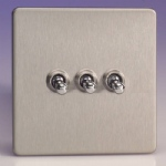 Toggle Switch 3-Gang Brushed Steel XDST3S