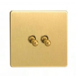 Satin Brass 2 Gang Toggle Switch XDBT2S