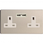 Dimension Screwless Double USB Port Socket