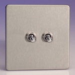 Toggle Screwless Satin Chrome Double Switch XDST2S