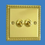 2 way Georgian Brass Switch XGT2