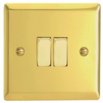 2 Gang Victorian Brass Wall Switch XV2D