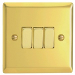 3 Gang Victorian Brass Wall Switch XV3D