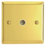 Victorian Brass TV Socket Polished Brass XV8