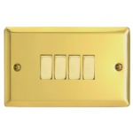 Four Gang Brass Wall Switch XV9D