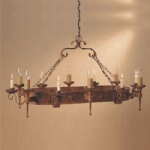 Refectory Aged Rustic Finish 6 Arm Pendant Light SMRR00006C/A