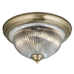 Round Antique Brass and Ribbed Glass Flush Ceiling Light 4370