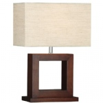 Square Dark Wood Table Lamp 9000