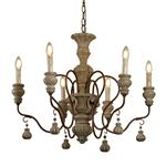 Amalfi LED Rustic Brown Weathered Multi-arm Pendant Light 5836-6BR