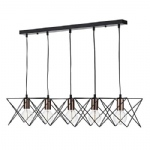 MID0522 Midi 5 light Matt Black Bar Pendant
