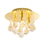 Renner Gold Semi-Flush Crystal Light Fitting 61244