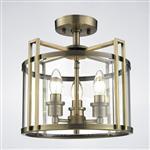 Eaton 3 Light Antique Brass Semi Flush Ceiling Fitting IL31090