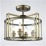 Eaton Antique Brass 4 Light Semi Flush Ceiling Lantern IL31091