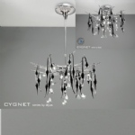 Cygnet Chrome and Black Crystal 11 Light Ceiling Fitting IL50412