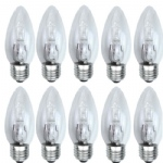 Candle E27 Halogen 25W=40W Clear 10 Pack