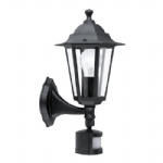 Laterna 4 Outdoor Black PIR wall Light 22469