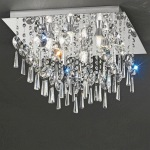 Chrome and Crystal 6 Light Flush Bathroom Ceiling Fitting KT5722