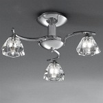 Raegan Chrome 3 Arm Semi Flush Light TP2162/3