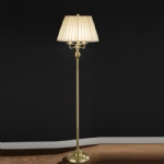 SL153 Satin Brass Floor Lamp With Lampshade